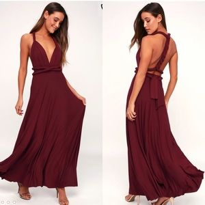 Lulu's burgundy multi way maxi dress